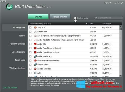 स्क्रीनशॉट IObit Uninstaller Windows 8